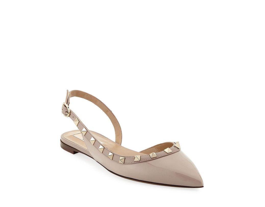 0198199fdf87 Lyst - Valentino Vernice Rockstud Slingback Ballet Flats in Natural