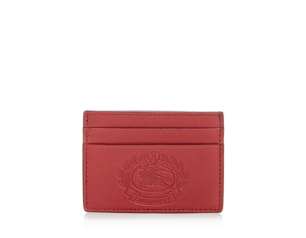 39d87caa3743 Lyst - Burberry Sandon Embossed Crest Leather Card Case in Red for Men