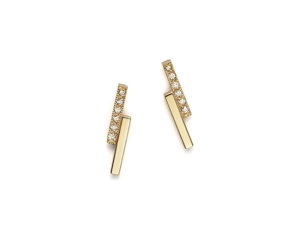 0bc5cf684 Zoe Chicco 14k Small Staggered Bar Stud Earrings With Diamonds in Metallic  - Lyst