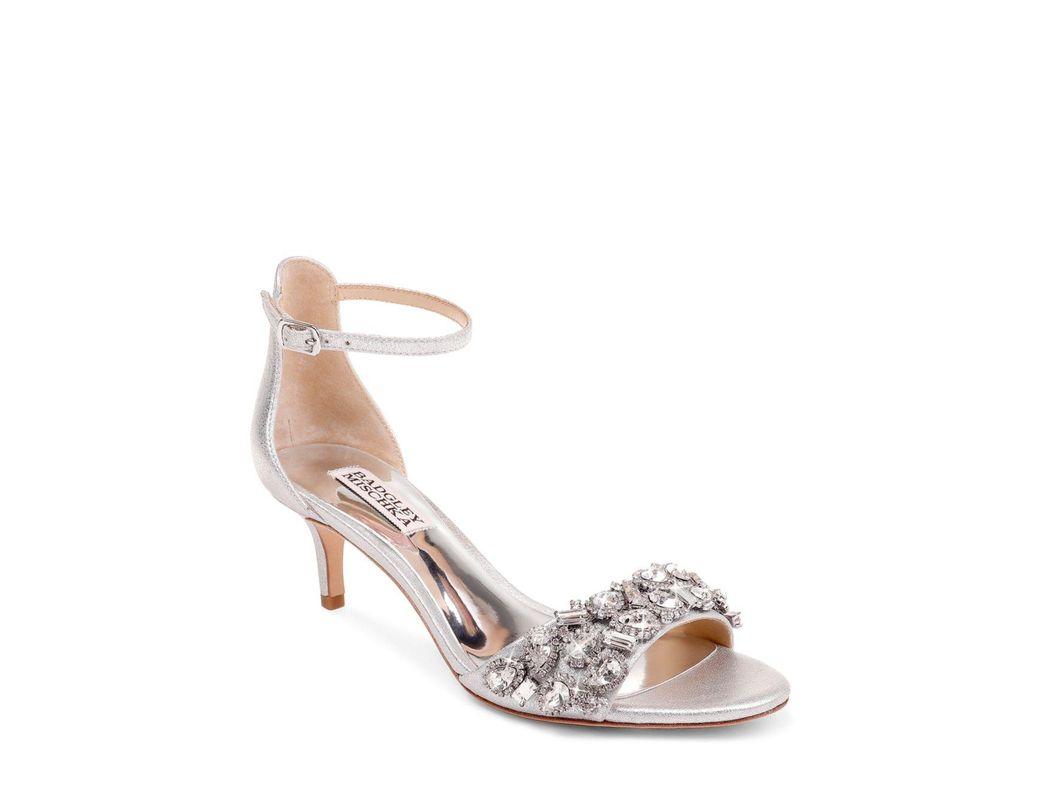 6febaf17d72e Lyst - Badgley Mischka Lara Embellished Metallic Kitten-heel Sandals in  Metallic