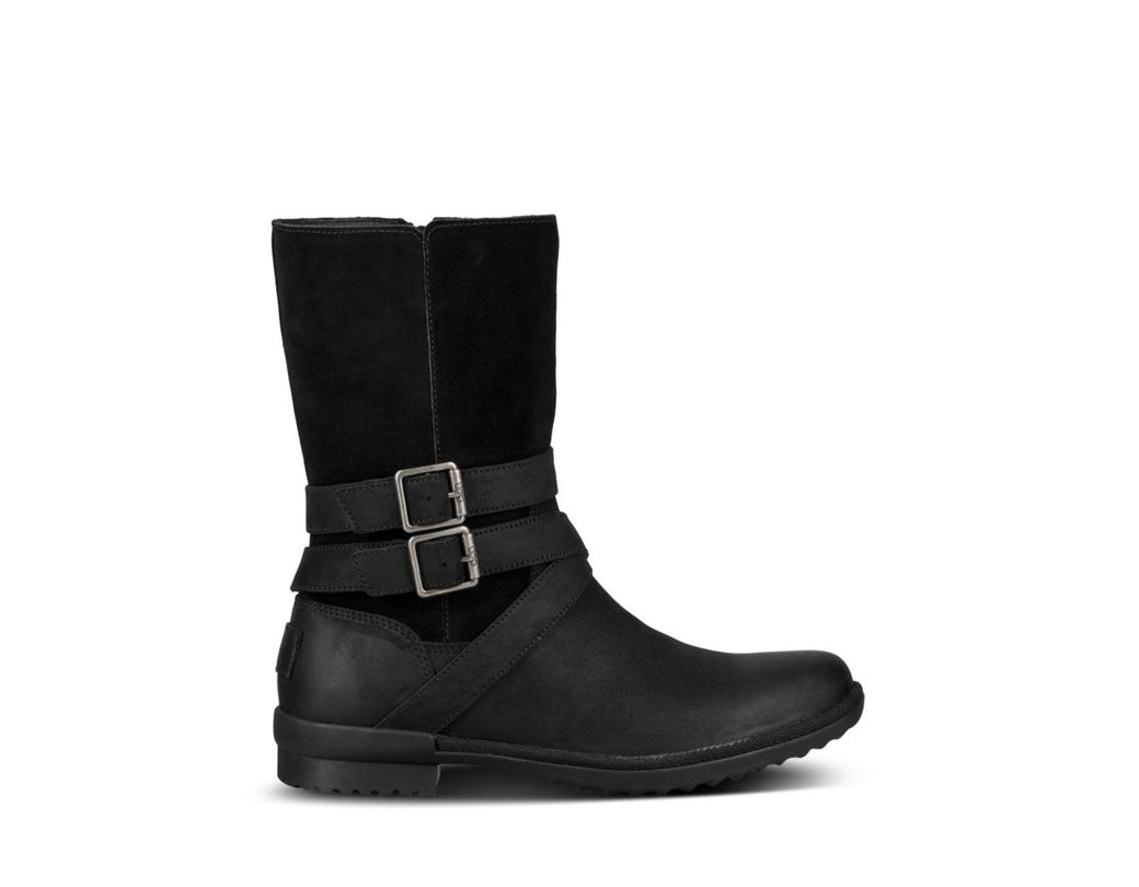 c20420137ee Black Women's Lorna Round Toe Leather Boots