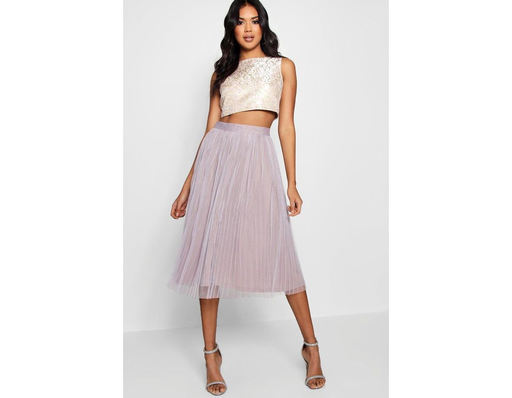 76294e0f3 Boohoo Boutique Jacquard Top Midi Skirt Co-ord Set in Pink - Lyst