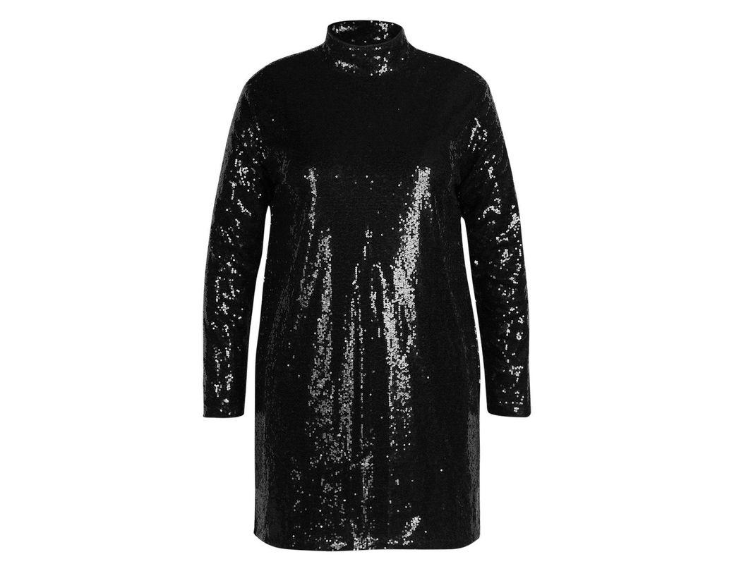 52212974b543 Boohoo Gemma Collins High Neck Sequin Shift Dress in Black - Lyst