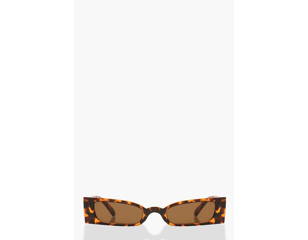 ef3fcc5b737a2 Lyst - Boohoo Square Edge Sunglasses With Pouch in Brown