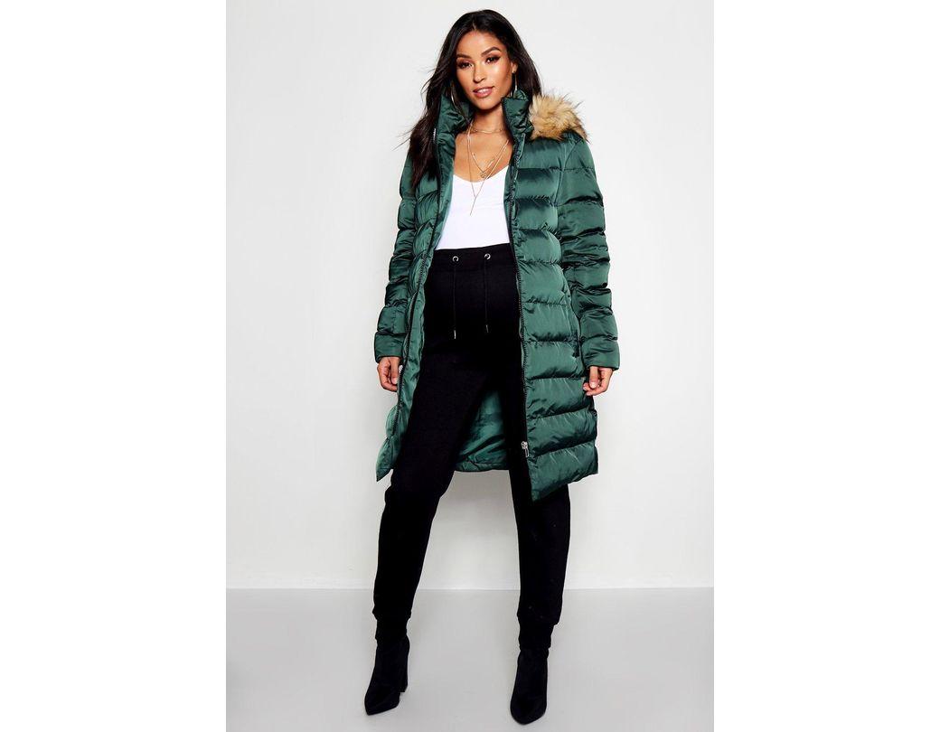 b69a1d606d373 Lyst - Boohoo Maternity Padded Faux Fur Trim Coat in Green