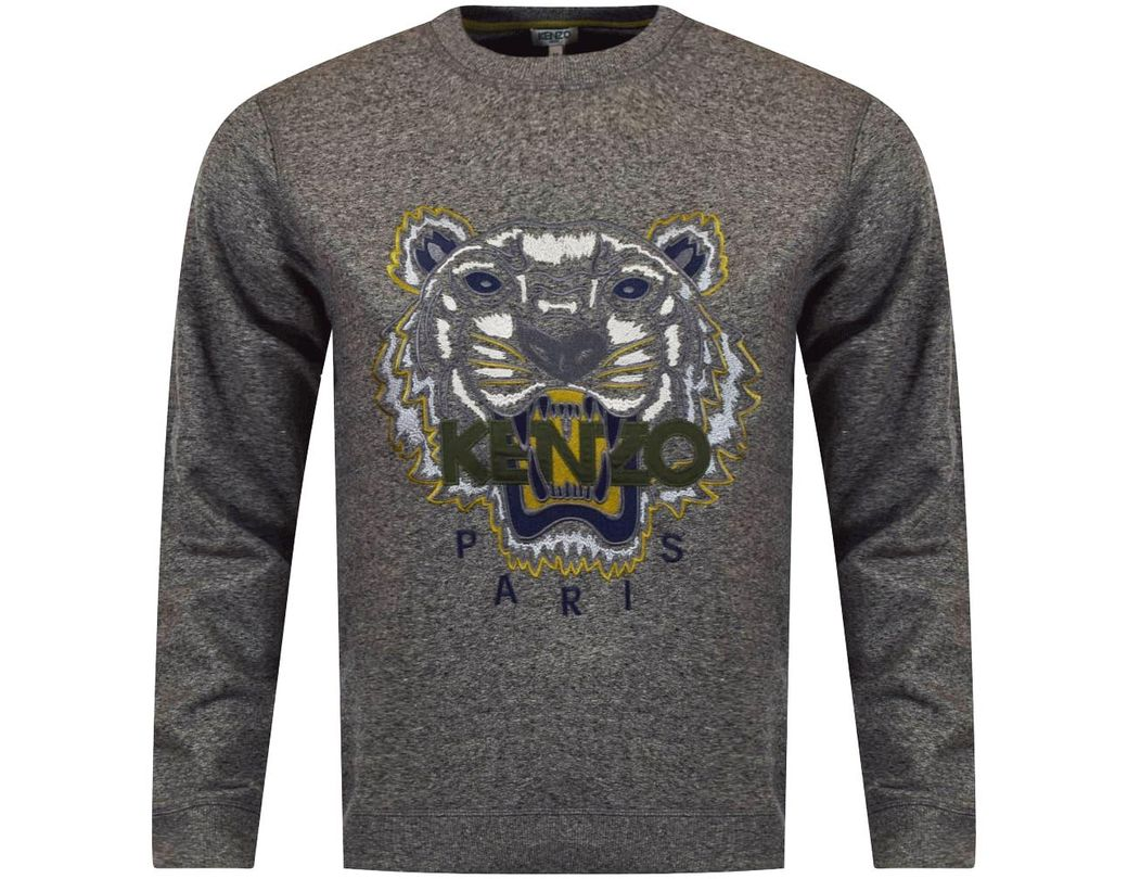 e74ed1d0 KENZO Anthracite Grey Tiger Logo Sweatshirt in Gray for Men - Lyst