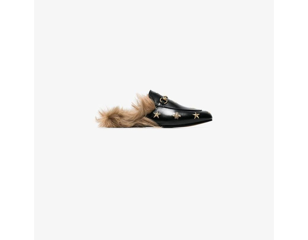 cfd41fbffc1 Gucci Princetown Bee And Star Embroidered Fur Lined Loafers in Black ...