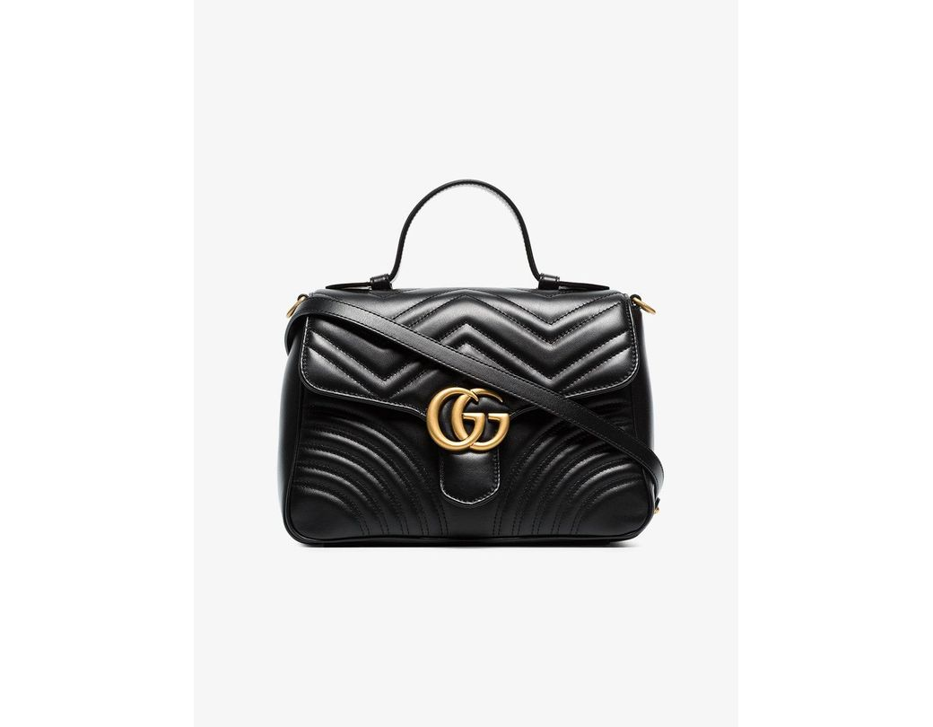 38916d9a4a9e6 Lyst - Gucci Black GG Marmont Small Top Handle Bag in Black - Save 2%