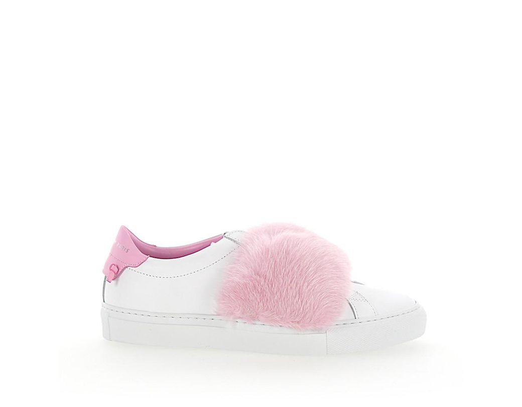 e9aeb7522af2 Lyst - Givenchy Slip-on Sneakers Leather White Mink Fur Pink in Pink ...