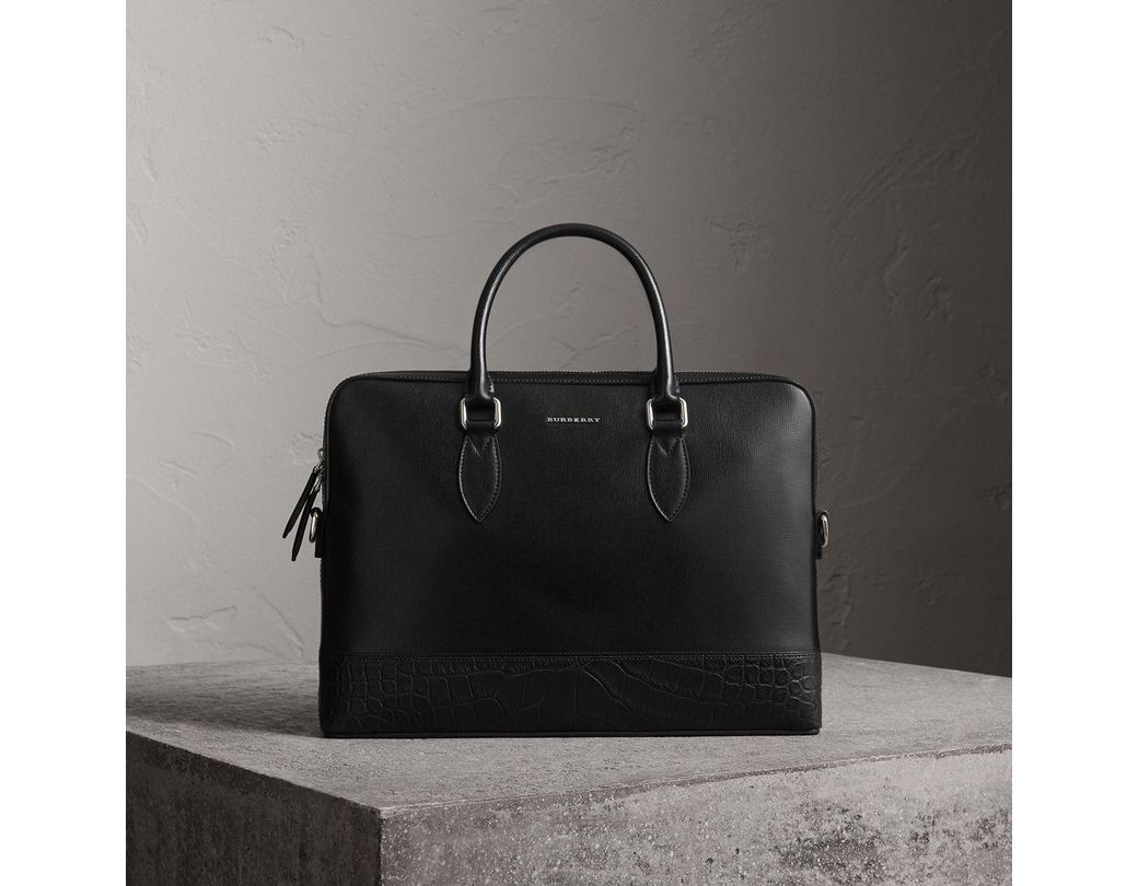 f66ec25c8273 Lyst - Burberry The Slim Barrow In London Leather And Alligator ...