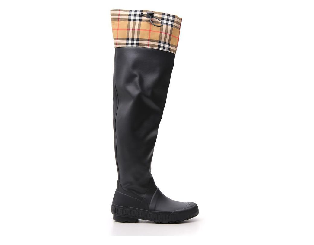 a848b56dc0f98 Women's Black Vintage Check And Rubber Knee-high Rain Boots