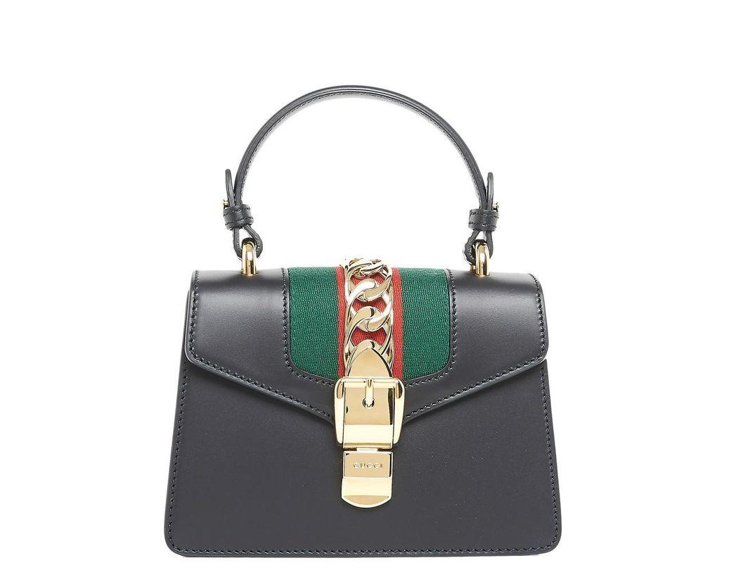 202b44bbf5d Lyst - Gucci Black Mini Sylvie Bag in Black - Save 27%