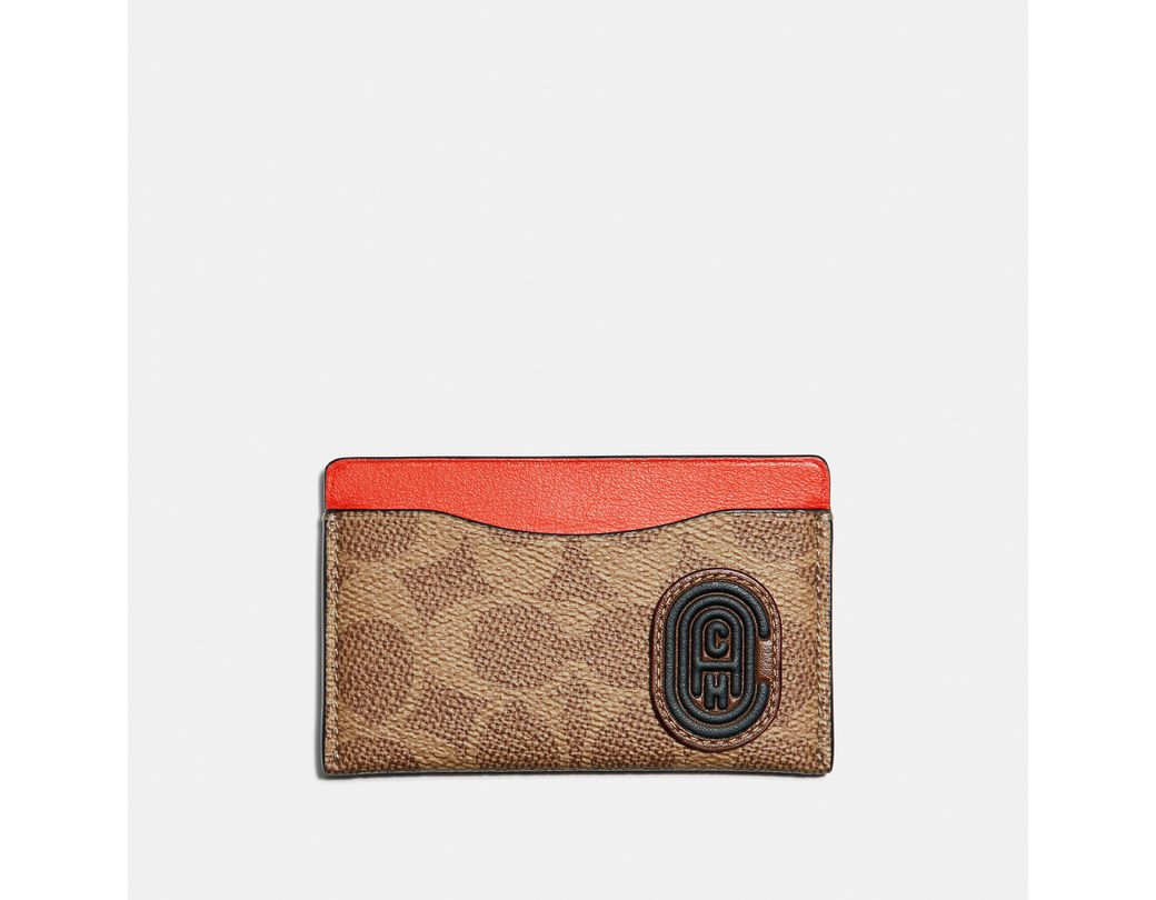 1228a213ec COACH Small Card Case With Signature Canvas Blocking And Patch for ...