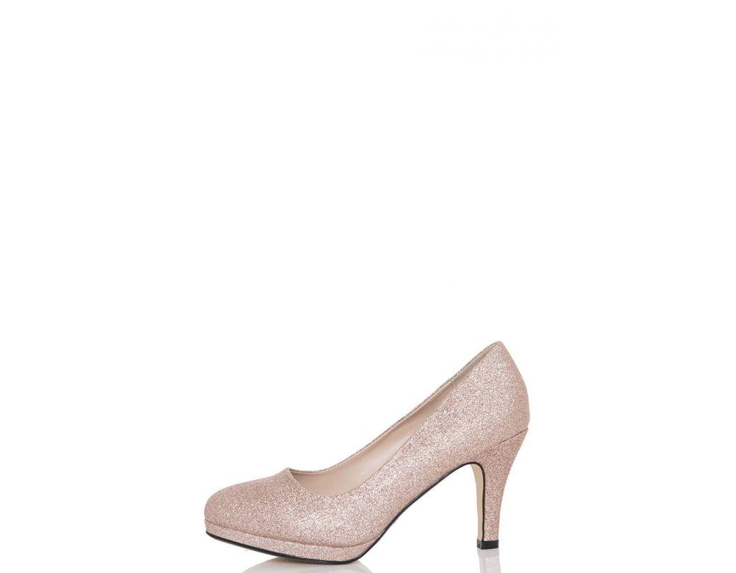 39bf1177687 Quiz Rose Gold Glitter Midi Heels in Metallic - Lyst