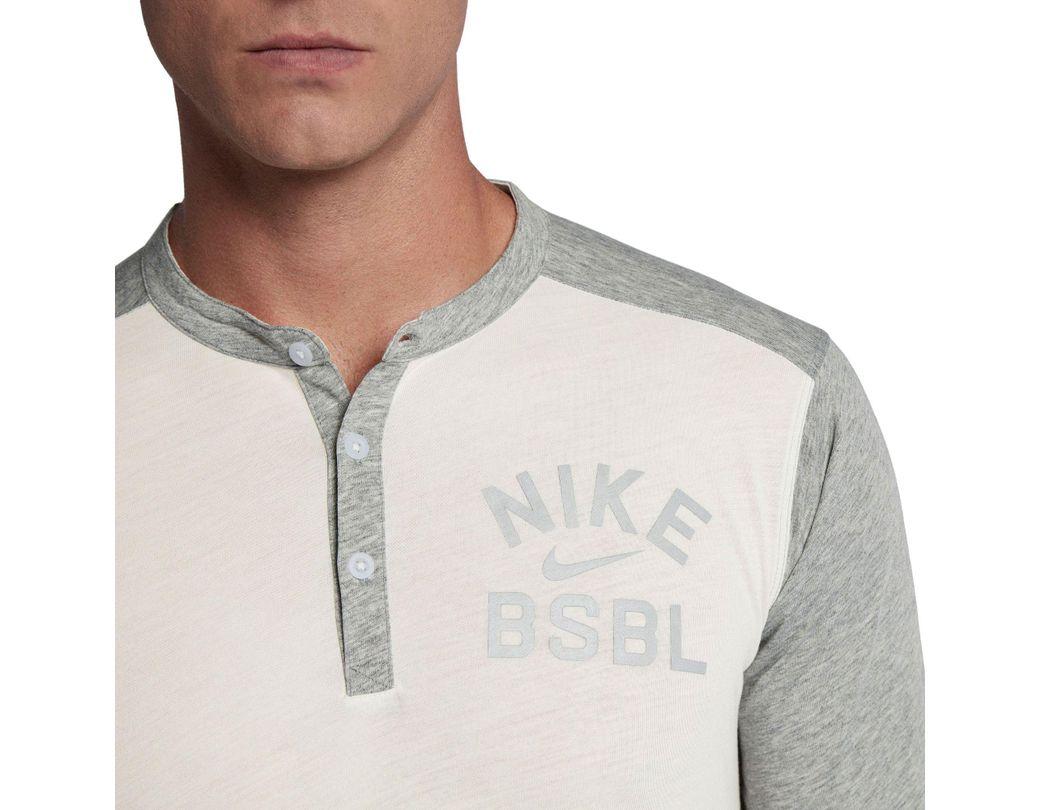 2ea2de6ce537d Lyst - Nike Flux 3⁄4 Sleeve Henley Baseball Top in Gray for Men