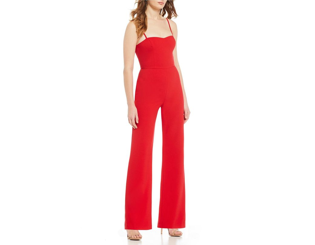 3af4ba7dba2 Lyst - French Connection Sweetheart Whisper Jumpsuit in Red