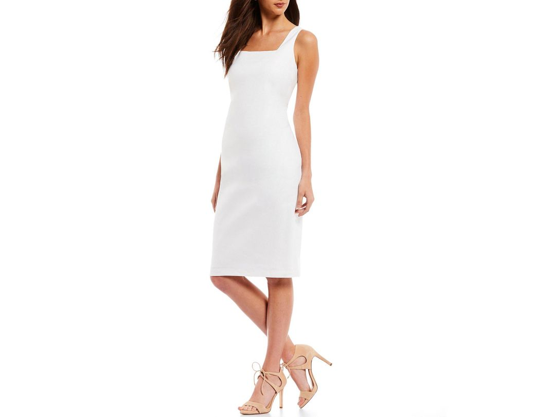 5b6c2c6462e Antonio Melani. Women s White Carol Linen Sleeveless Square Neck Sheath  Dress