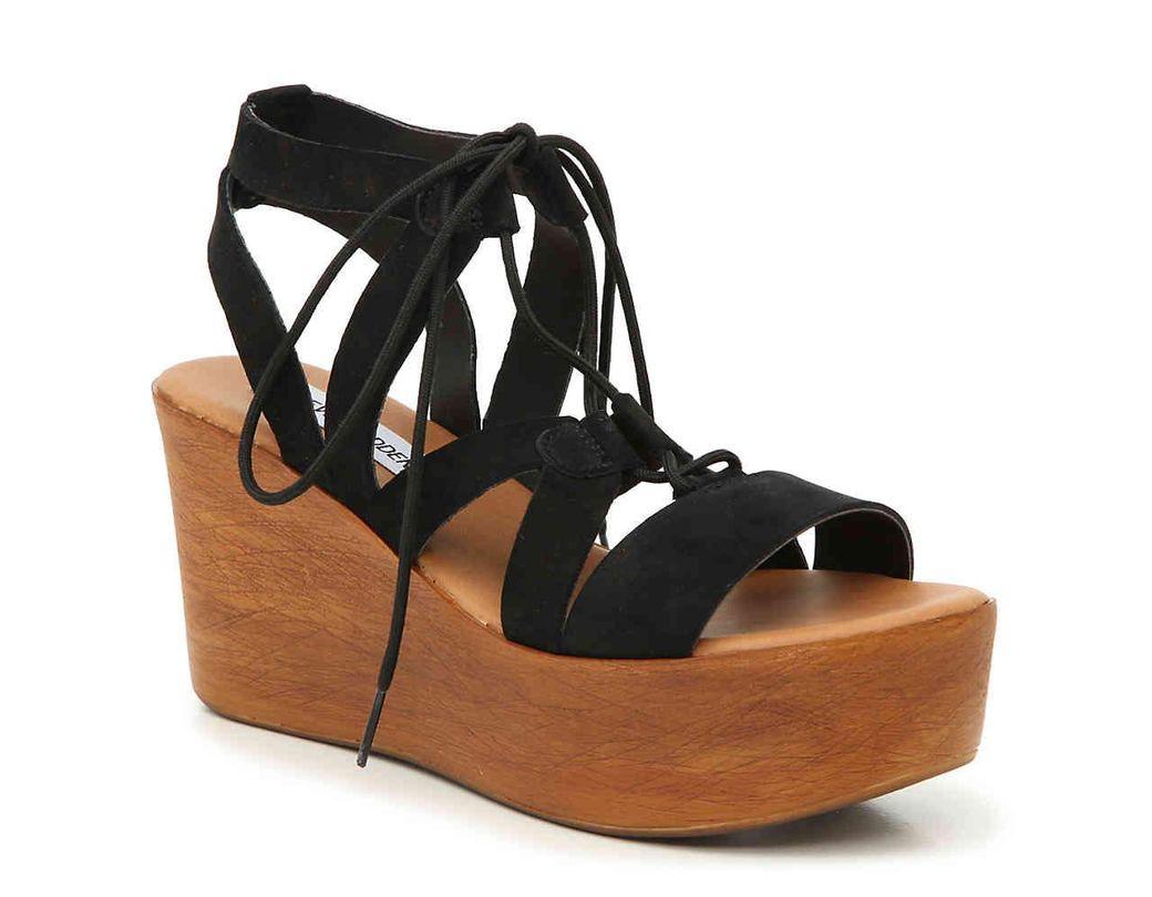 cc4dcd0842f1 Lyst - Steve Madden Sevona Wedge Sandal in Black