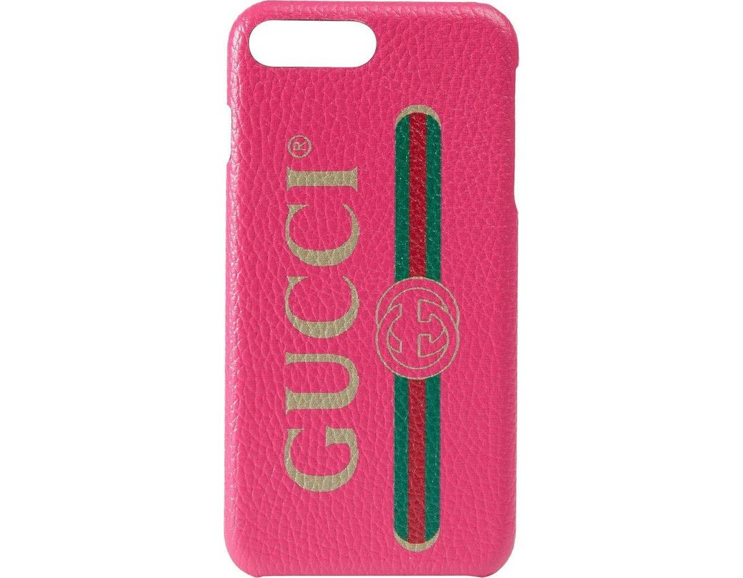 Lyst , Gucci Print Iphone 8 Plus Case in Pink