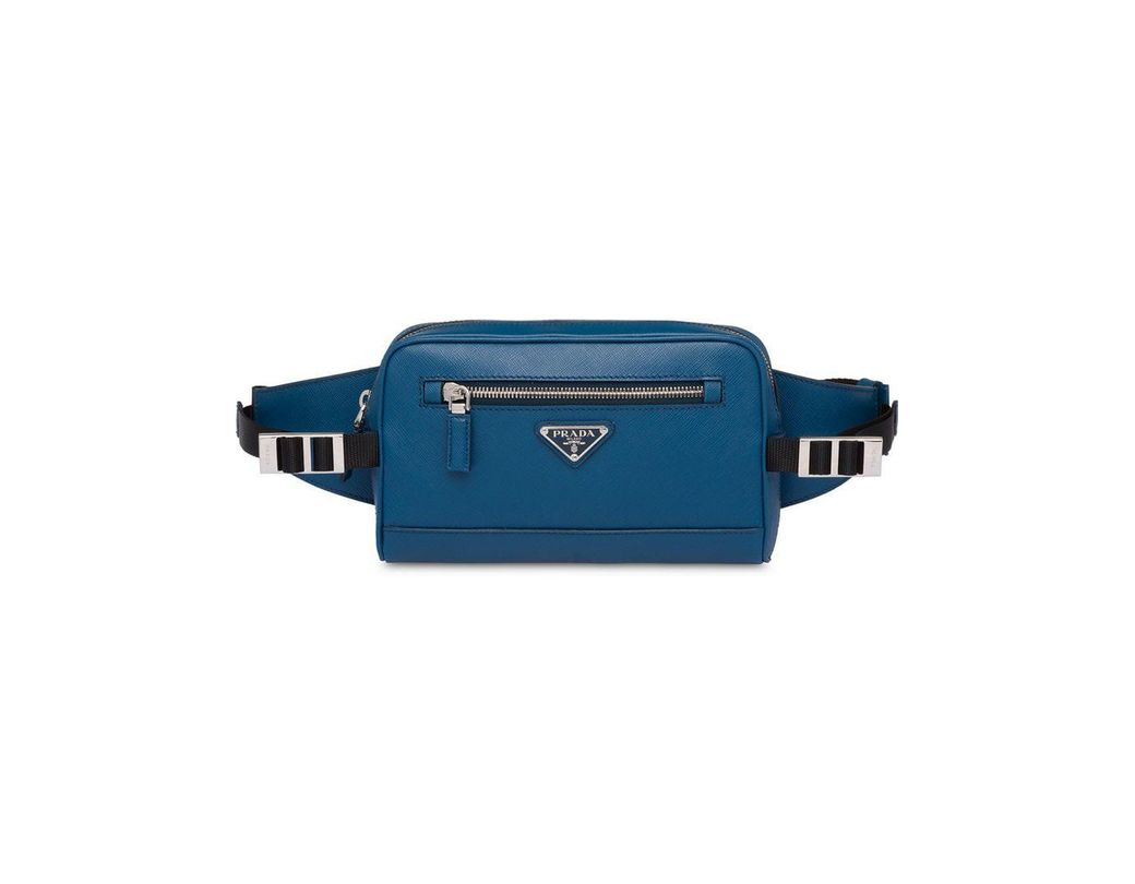 bfd6883baf65 Long-Touch to Zoom. Long-Touch to Zoom. 1  2  3  4. Prada - Blue Saffiano  Leather Belt Bag for Men - Lyst ...