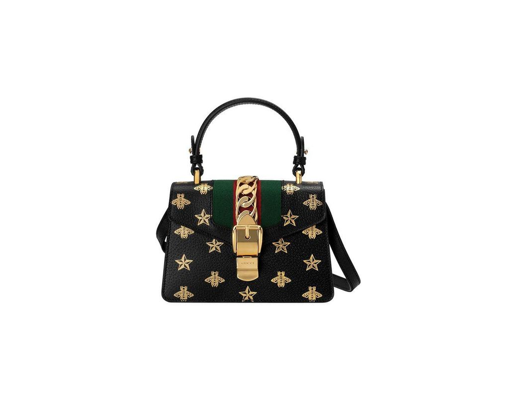 37286eb3038 Lyst - Gucci Sylvie Bee Star Mini Leather Bag in Black