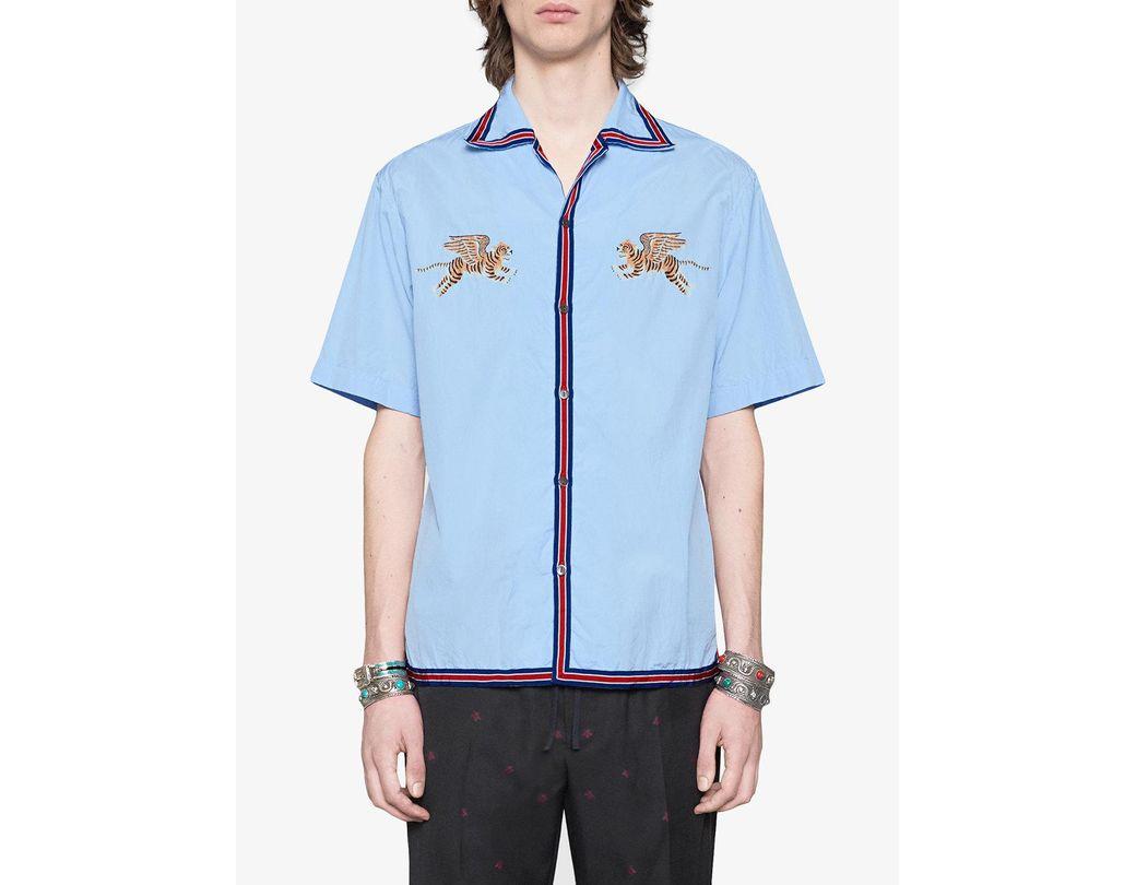 ee36ba68bf Men's Blue Tiger Fil Coupé Bowling Shirt