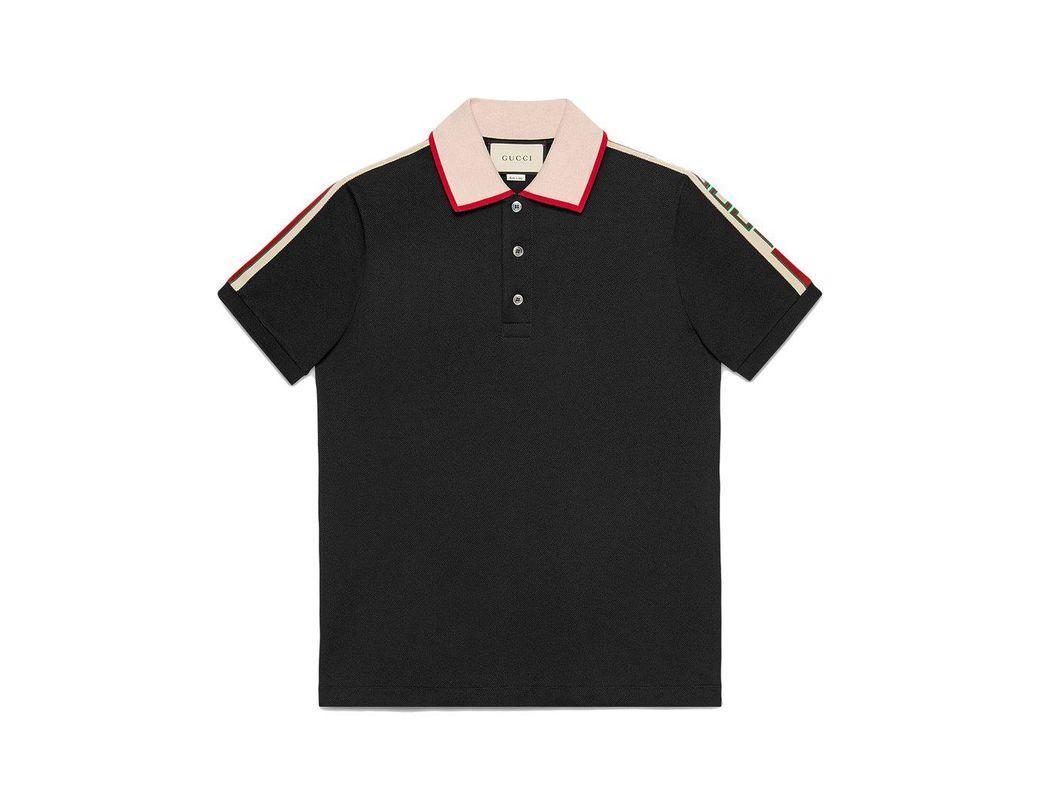 6ef8a8fec87 Lyst - Gucci Black Stripe Polo Shirt in Black for Men