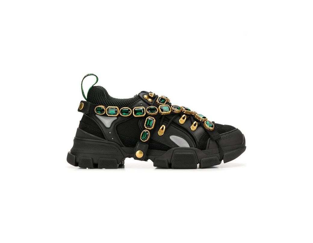 6bd3fdd2a94 Lyst - Gucci Flashtrek Sneakers With Removable Crystals in Black for Men