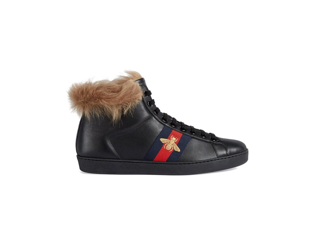 ca62313805dc Gucci Ace High-top Sneaker With Fur in Black for Men - Lyst