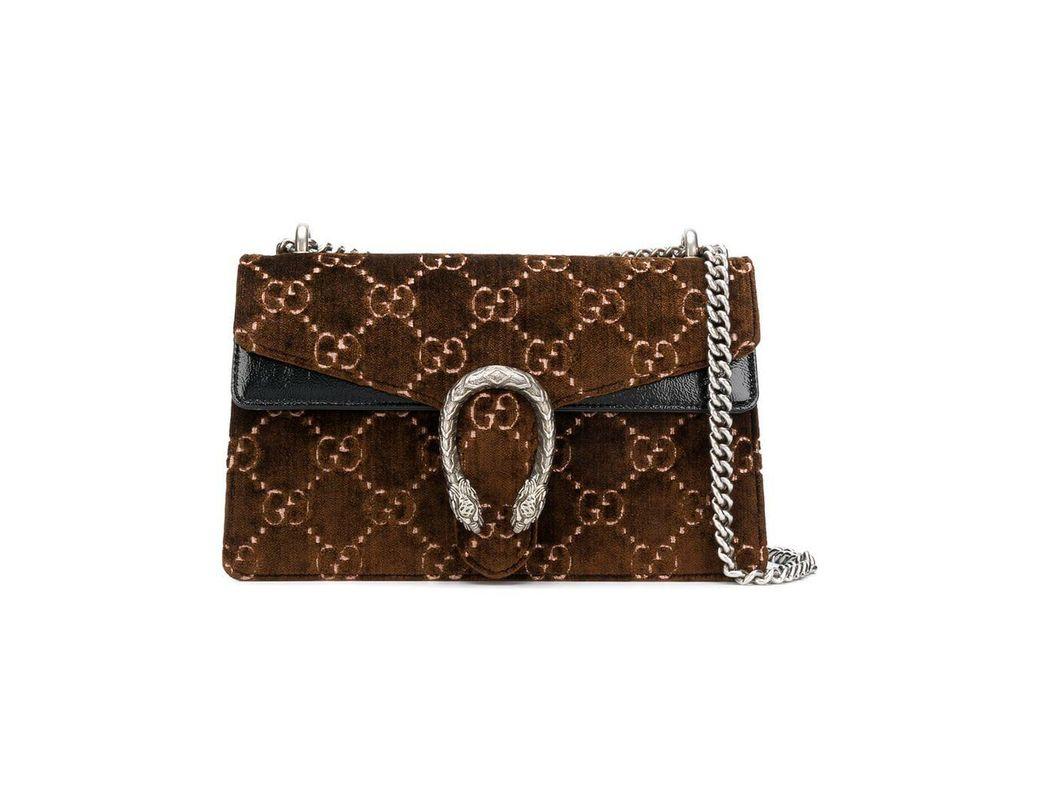 6a823bf89de Lyst - Gucci Dionysus GG Velvet Small Shoulder Bag in Brown