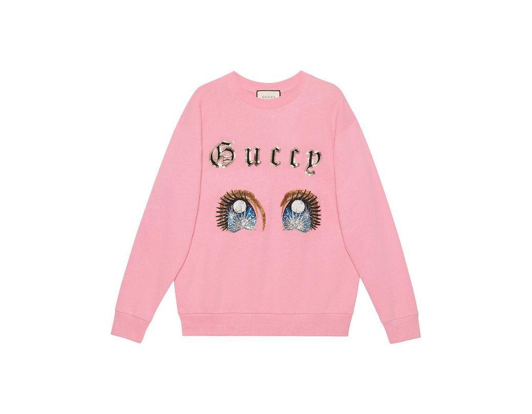 282118e649e Gucci Oversize Sweatshirt With Manga Eyes in Pink - Lyst