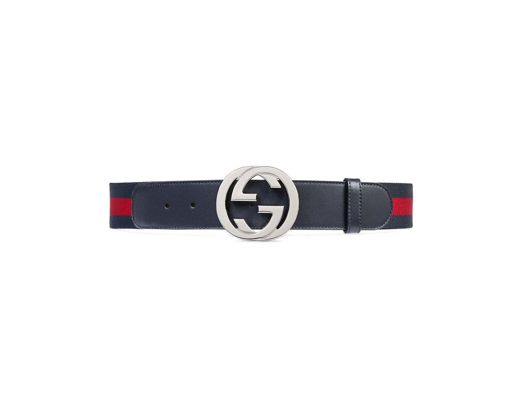 a4be77c985a Lyst - Gucci Web Belt With G Buckle in Blue for Men - Save 14%
