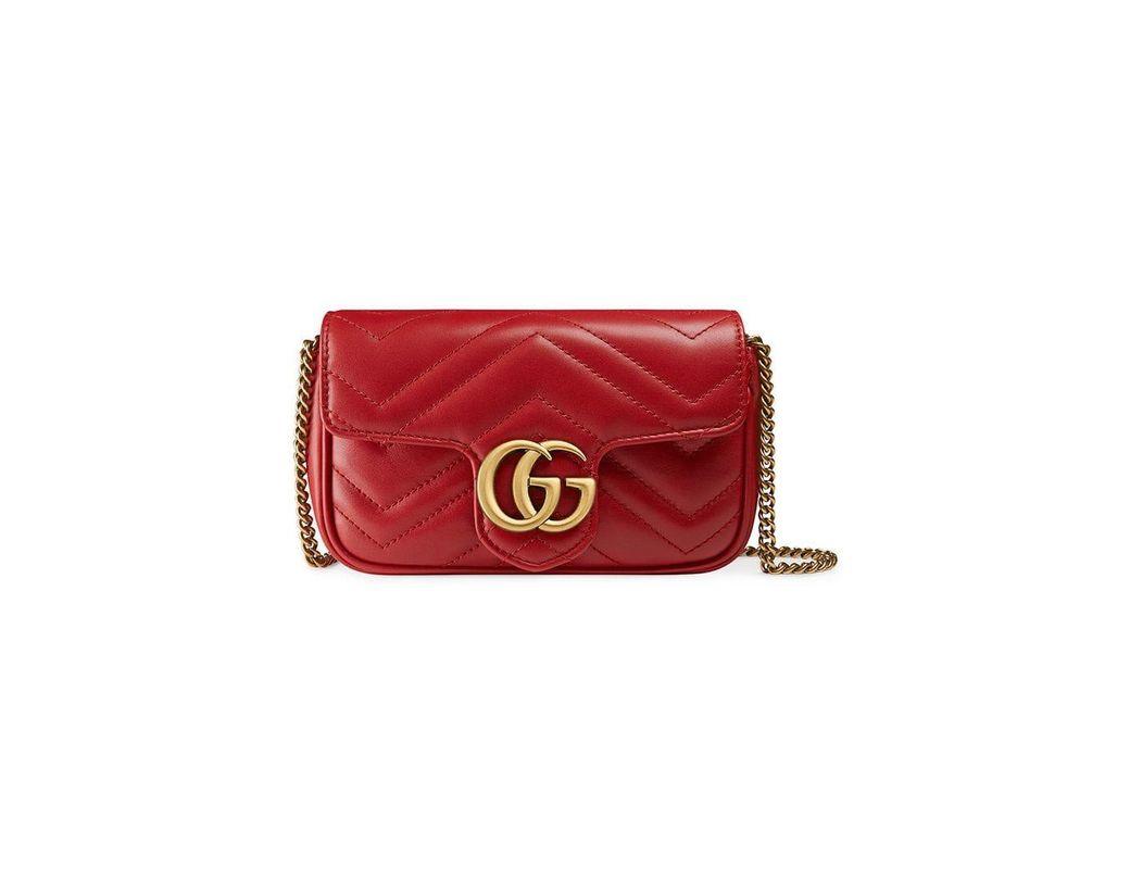 16e3fae8a0e Gucci Mini Borsa Gg Marmont In Pelle Matelassé in Red - Save 10% - Lyst