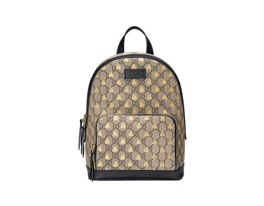ac991ffa723 Lyst - Gucci GG Supreme Bees Backpack in Black