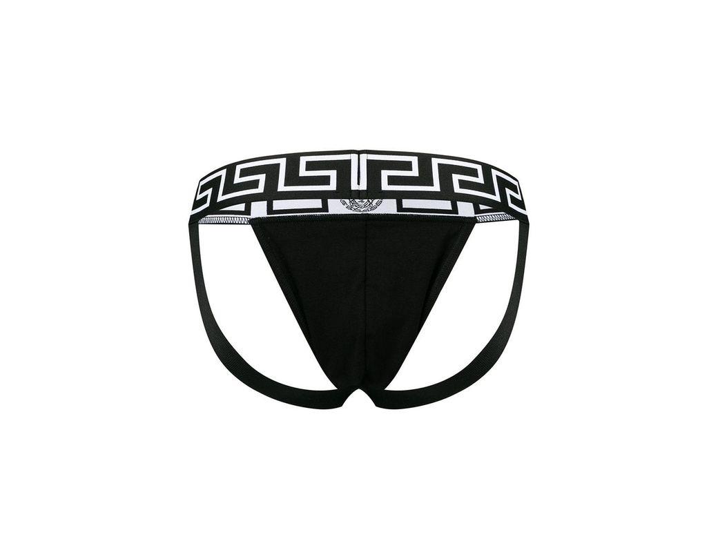 5057820ccdac Versace Greca Border Jockstrap in Black for Men - Lyst