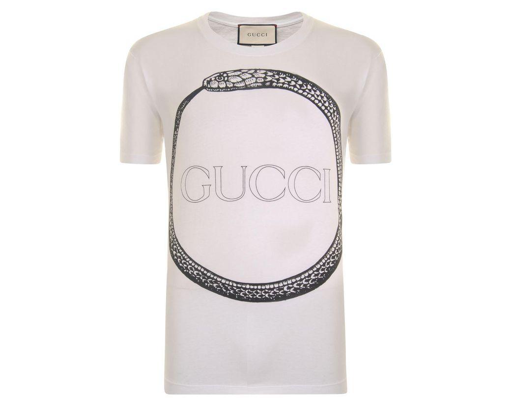 4c894d21f48 Lyst - Gucci Snake Logo T Shirt in White for Men