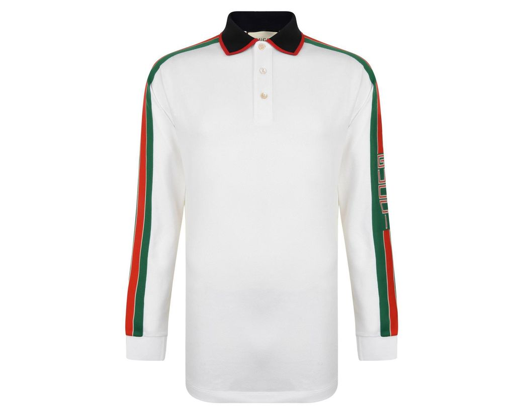 1db884b8c4a Lyst - Gucci Tape Long Sleeve Polo Shirt in White for Men - Save 11%