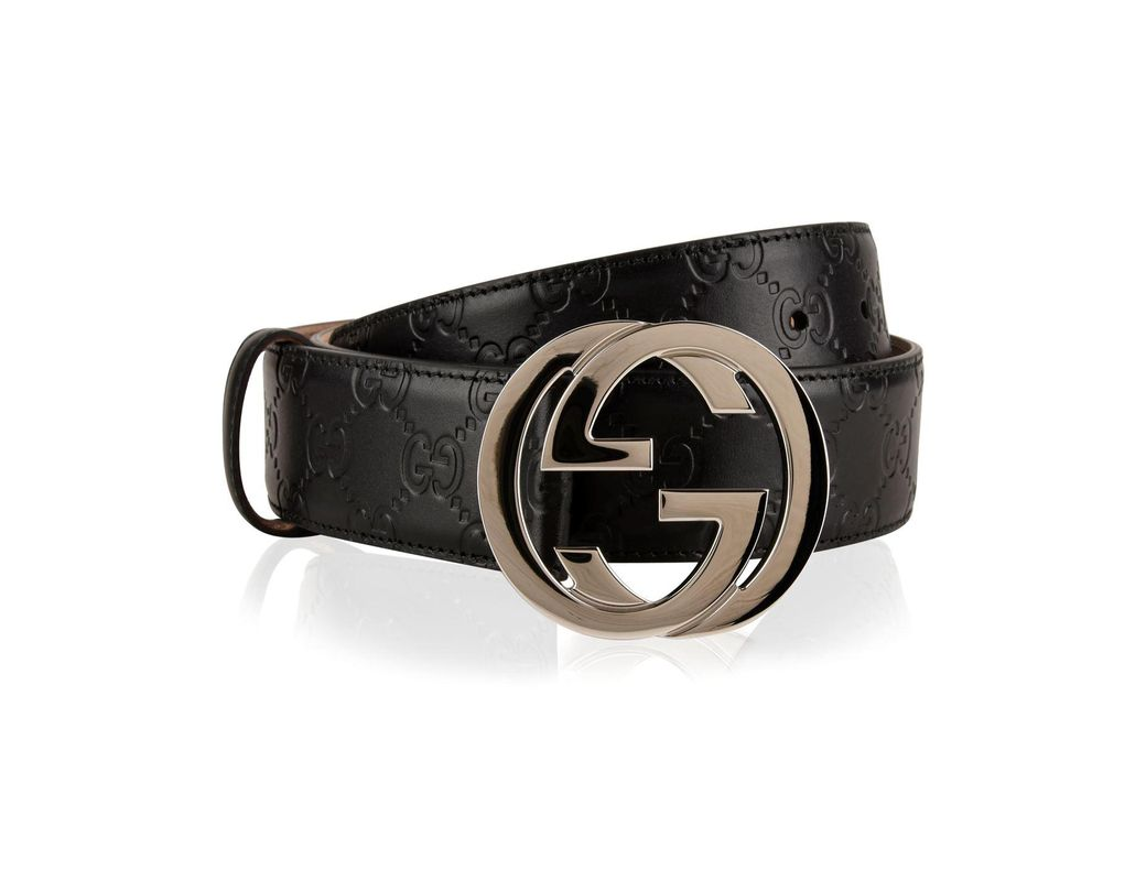 a1a5a6e2678 Lyst - Gucci Interlocked Embossed Belt in Black for Men