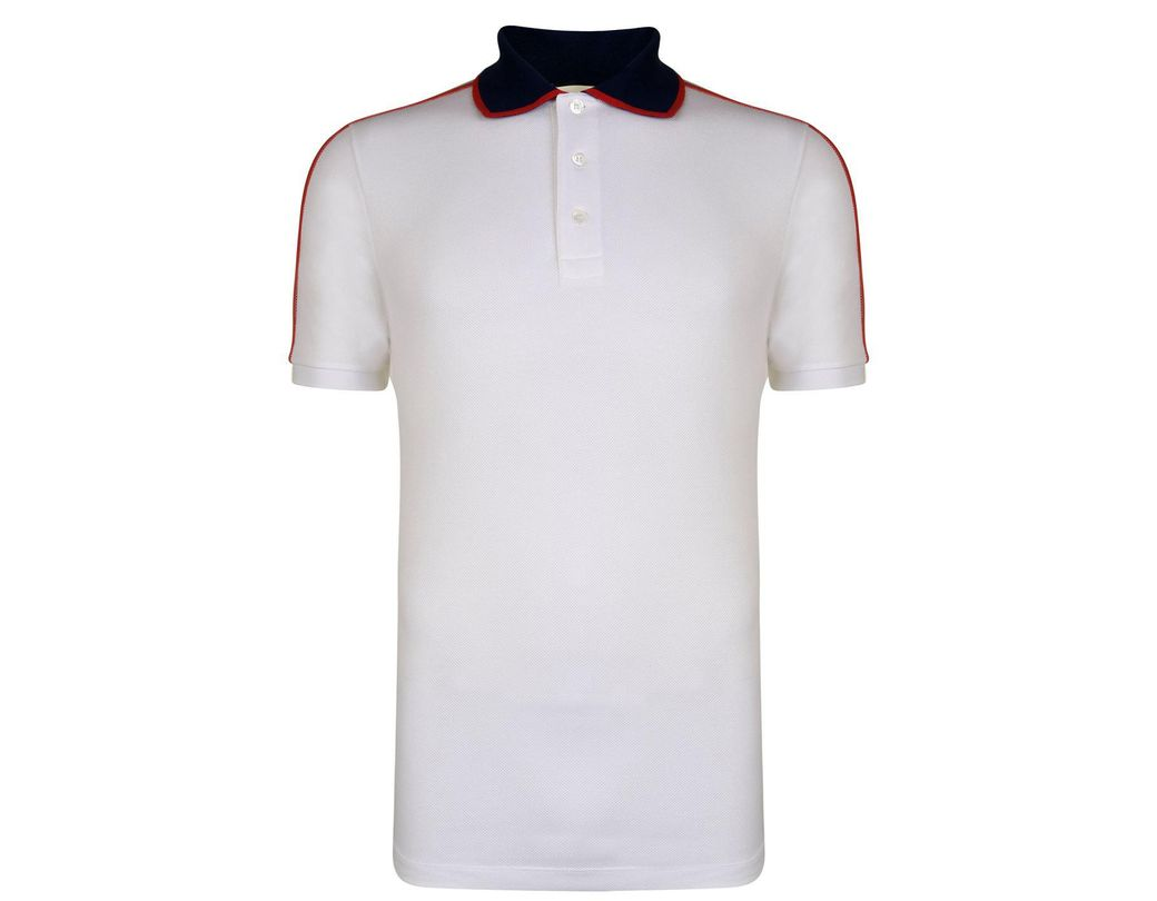 83b65565a66 Gucci Ribbon Polo Shirt in White for Men - Lyst