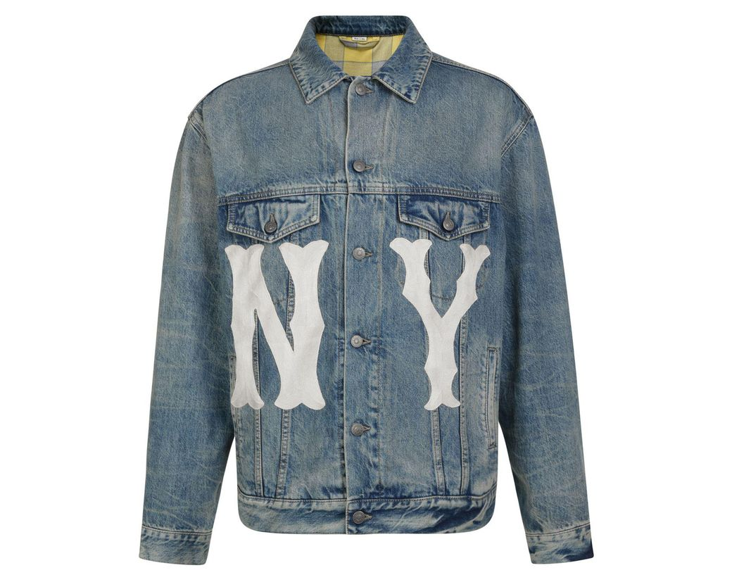 93628c4883a Lyst - Gucci Ny Yankees Denim Jacket in Blue for Men