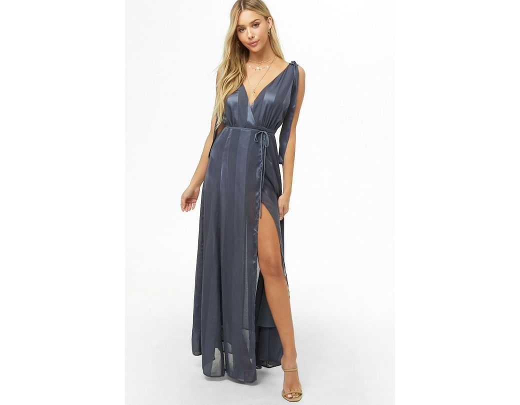 f787d68626 Lyst - Forever 21 Striped Maxi Wrap Dress in Blue
