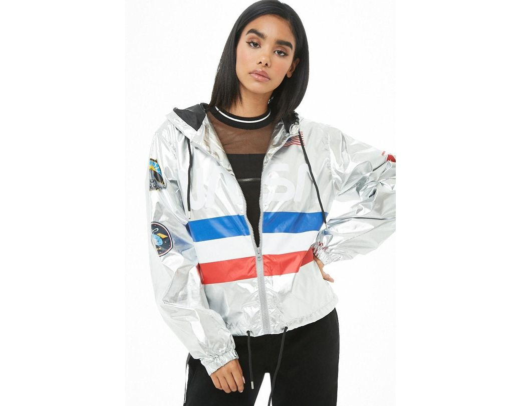 e9fc25dc3 Women's Nasa Graphic Metallic Windbreaker , Silver/multi