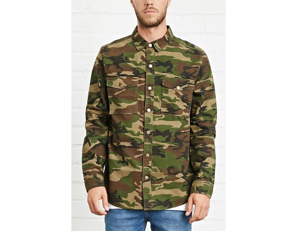 37272b16c7c88 Forever 21 's Camo Print Button-front Jacket in Green for Men - Lyst