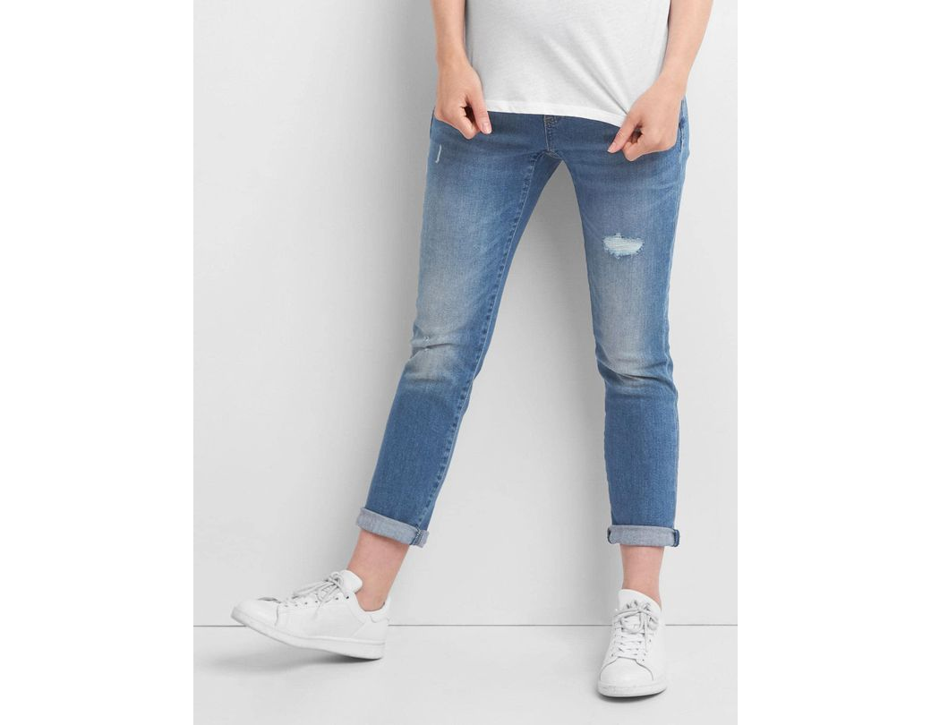 8d60683c4987e Lyst - Gap Maternity Full Panel Distressed Best Girlfriend Jeans in Blue