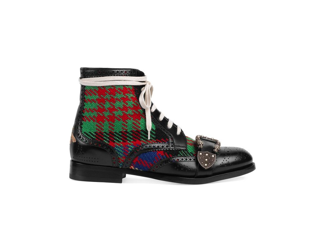 90b5bf7b4b5 Lyst - Gucci Tartan Queercore Brogue Boot in Black for Men - Save 22%
