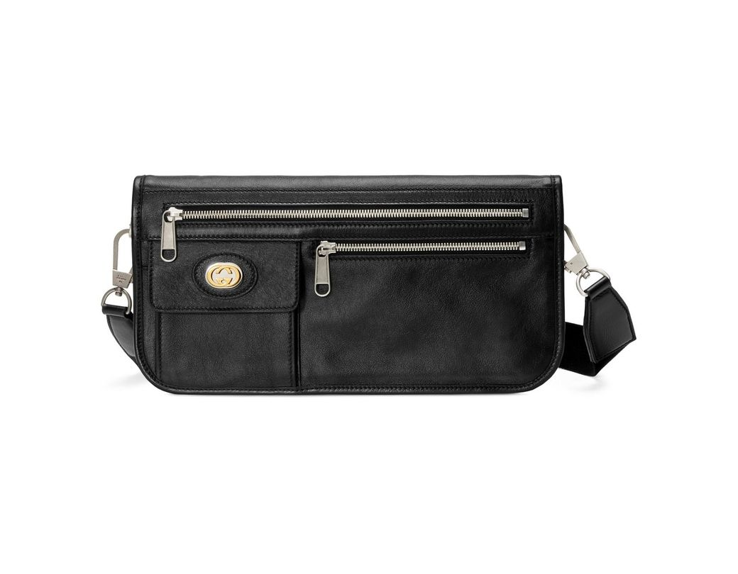 ad2fa33c572 Lyst - Gucci Medium Soft Leather Messenger Bag in Black for Men