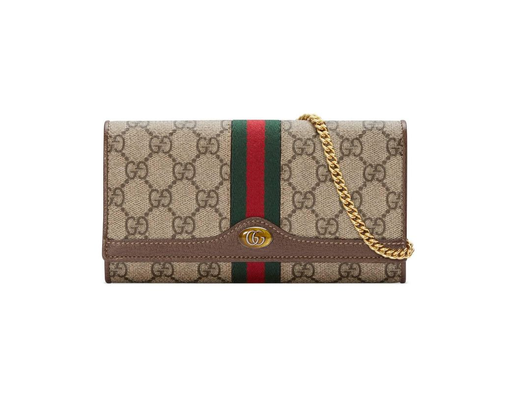 c03ef98be0aa Lyst - Gucci Ophidia GG Chain Wallet in Brown