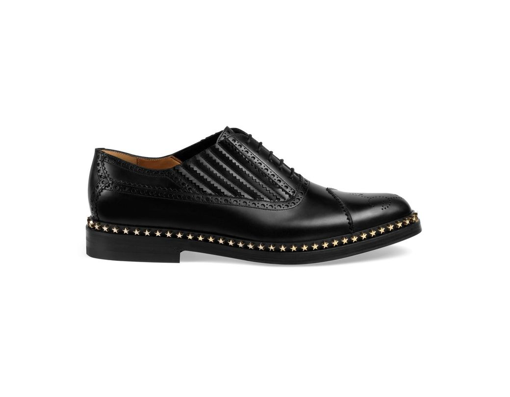 1b01e31fa76 Lyst - Gucci Leather Lace-up With Star Trim in Black for Men