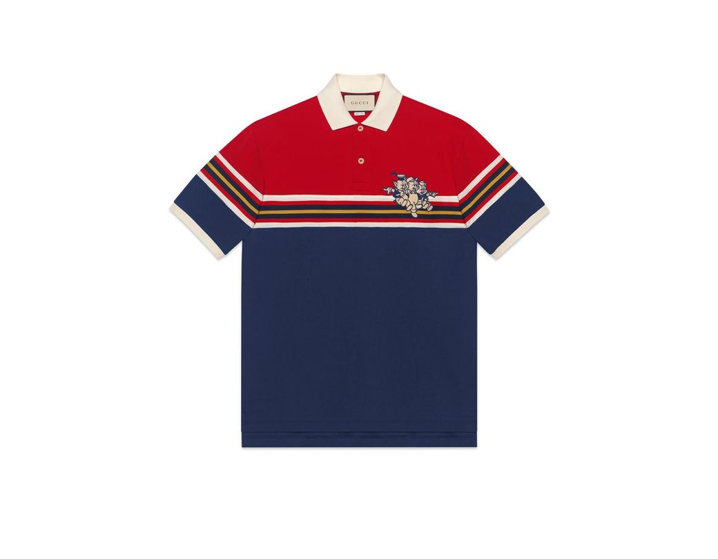 f398f4cb15c Lyst - Gucci Men s Cotton Polo With Three Little Pigs in Blue for Men