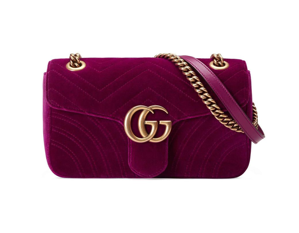 8c8aa6918986e Lyst - Gucci GG Marmont Small Quilted Velvet Crossbody Bag in Purple ...